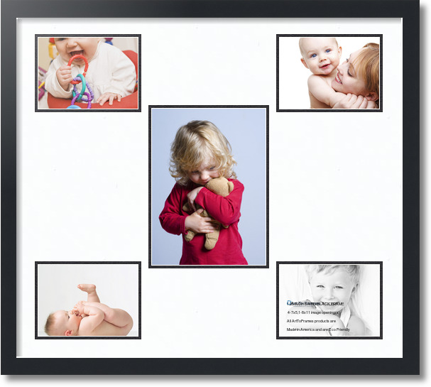 27x2375 Satin Black Collage Picture Frame 5 Opening Super White And