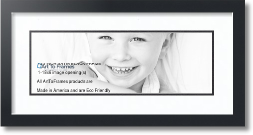 22x10 Satin Black collage picture frame 1 opening Super White and ...