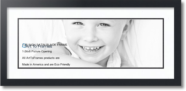 28x12 Satin Black collage picture frame 1 opening Super White and ...