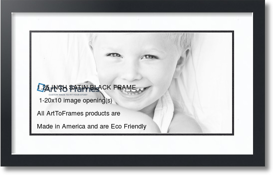 24x14 Satin Black collage picture frame 1 opening Super White and ...