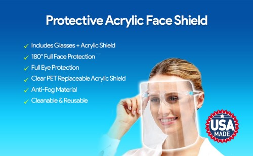 ArtToFrames Protective Face Shield Replacement 3 Pack Glasses NOT Included Fully Transparent Face and Eye Protection from Droplets and Saliva with Replaceable PPE Shield Only